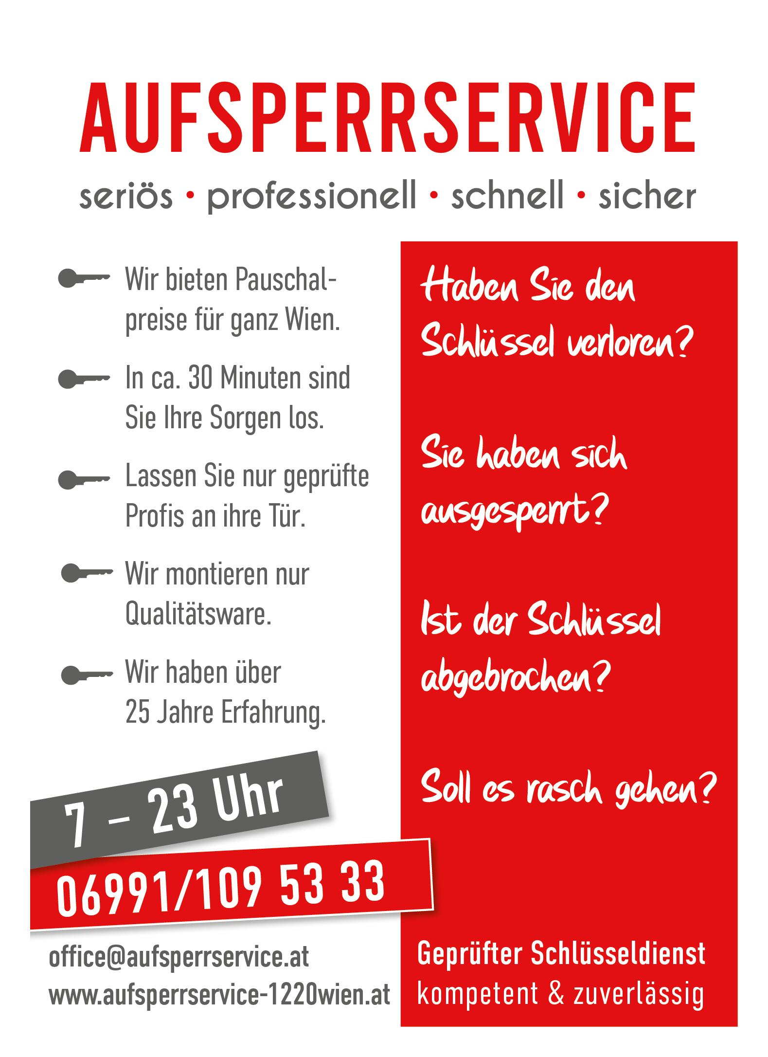 Aufsperrdienst 1220 Schlüsseldienst Aufsperrservice Wien
